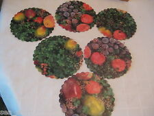 "VTG 6"" INCH ROUND ROYAL FRUIT LEAVES APPLES GRAPES PRINT DOILIES 6 PCS PAPER"