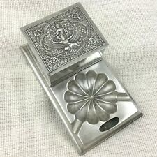 More details for 1946 antique smokers companion cigarette box silver plated case repousse work