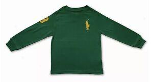 New Polo Ralph Lauren Long Sleeve T-shirt Top Green Big Yellow Pony Age 8 140
