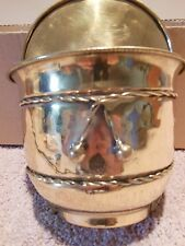 VINTAGE BRASS WALL HANGING CONTAINER MADE IN INDIA 4 3/4 DEEP 8 1/4 TOTAL HIGH