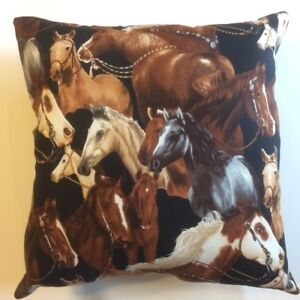 NEW 15 X 15 MULTI HORSES WILDLIFE ANIMAL FARM COUNTRY COMPLETE THROW PILLOW #7