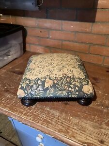 Vintage Tapestry Small Footstool Multi-Coloured
