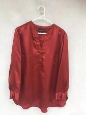 /🎈 ORIGINAL MAGGIE T SILK STYLE Burnt Red Orange Blouse Shirt 0 14 12 L