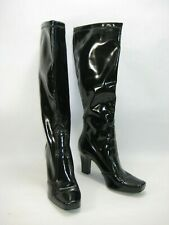Patent Leather Black Pull On Heeled Boots Below Knee Women's 10 M Franco Sarto