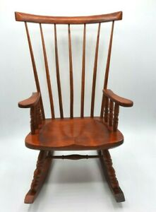 "Hand Crafted Wooden Small Doll Windsor Rocking Chair 15"" Tall"
