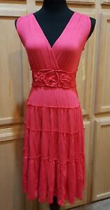 Sangria Tiered Deep Rose Pink Stretch Jersey Smocked Waist Fit & Flare Dress
