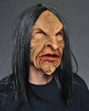 Deviant Old Man or Woman Witch Halloween Mask & Wig Supersoft Moves with Face