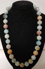 Vintage 400ct Aqua Amazonite Stone Bead 12mm Beaded Necklace 80 Grams