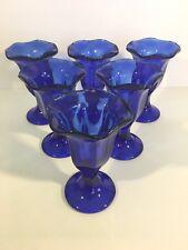 6 Cobalt Blue Tulip Ice Cream Sundae Parfait Glasses Dessert Cups