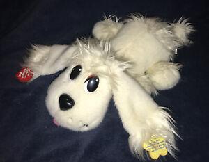 """Pound Puppies Pick-Me Pups 15"""" White Puppy Dog Plush Mattel Barks & Wags 2004"""