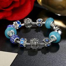 20cm European Silver Blue Glass Bead & Crystal Charm Bracelet Snake Chain