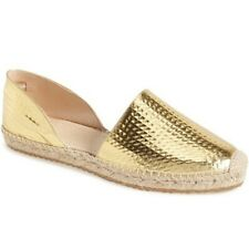 Authentic New Jimmy Choo Dreya Gold Leather Espadrille Flat Shoe Espadrille 37.5