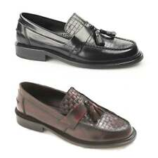 Ikon WEAVER Mens Polished Leather Woven Tassel Classic Comfortable Loafers Shoes