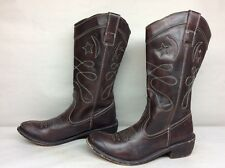VTG WOMEN BROWNX COWBOY LEATHER MAN MADE BROWN  BOOTS SIZE 37
