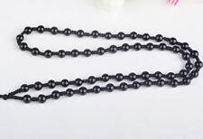 Natural black JADE obsidian Circle Black 6mm Beads string cord For Pendant