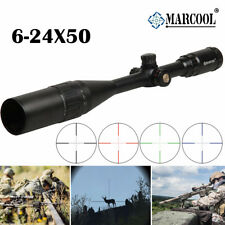 Marcool 6-24X50 AOIRGBL Optics Rifle scope RGB Illuminated Retical Fiber Hunting
