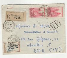 France 3 timbres sur lettre R 1958 tampon Marseille Saint-Louis /L334