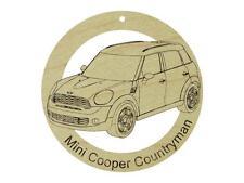 Mini Cooper Countryman Natural Hardwood Ornament Sanded Finish Laser Engraved