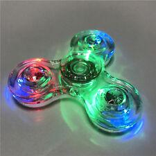 NEW Crystal Led Light Fidget Spinner Rainbow Hand Toy Stress Finger Spinners