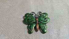 Ab Crystal Inset Butterfly Brooch Pin Brown & Green Enameled Silvertone Metal