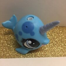 New ListingLittlest Pet Shop Lps Blue Narwhal #3759 Purple Eyes whale blowhole spout water