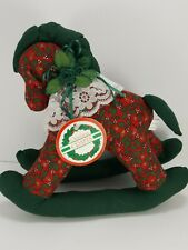 Victorian Rocking Horse Vintage Christmas Red Green Holly Plush Stuffed Animal