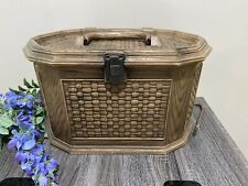 Lerner Sewing Case Kit Box Plastic Basket Weave USA w Insert & Handle