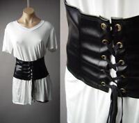Black Faux Leather Corset Waist Cincher White V-Neck T-Shirt 216 mv Tunic S M L