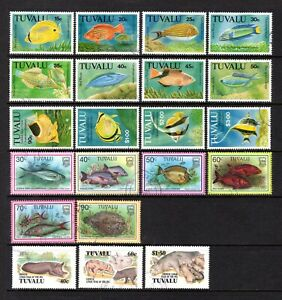 TUVALU FISH + YEAR OF THE PIG GOOD TO FINE USED RANGE x 21 STAMPS TO $3 VALUE