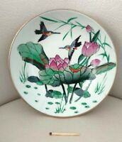 Chinese Ceramic Bowl Plate Decorative Flowers Birds Bronze Base Hanging Hook