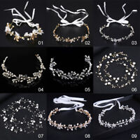 UK Bride Crystal Headband Wedding Hair Accessories Bridal Hair Vine Pearl Leaf