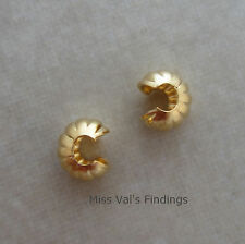 50 gold plated jewelry corrugated crimp bead cover findings 4mm