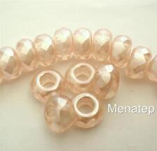 4(Four)  8 x 13 mm Large Hole Rondelle Beads: Pearl Coated - Honey Glaze
