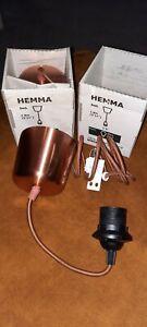 2 x Ikea 'Hemma' Copper Light Fitting. Brand New