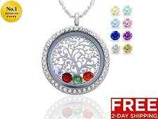 Family Tree of Life Birthstone Necklace Jewelry - Gifts for Mom Floating Charm