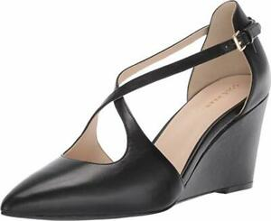 COLE HAAN Emberlee Crossover Leather Wedge Pointy Pump sz 8.5  New