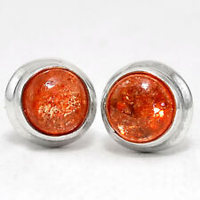 Natural Sunstone Stud Round Shape 925 Sterling Silver Earrings Jewelry DGE5069_G