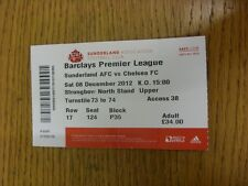 08/12/2012 Ticket: Sunderland v Chelsea  (folded). Thanks for viewing this item,