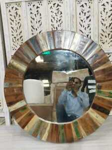 MADE TO ORDER Nirvana Reclaimed Wood Mirror Round 80x80cm Finish - Natural