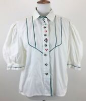 Tracht Fashion German Top Size 40  Short Sleeve White Embroidered Collar Yessica
