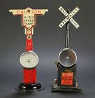 2 Vintage MARX Mar Lines Crossing Signal Bells Pressed Steel Model Toy Railroad