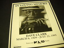 Dave Clark (the bluesman) In Loving Memory 1909 - 1995 Promo Display Ad mint con
