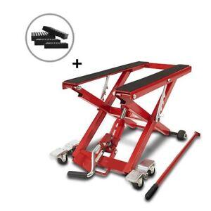 Bequille d'Atelier Cric Moto Hydraulique Lift ConStands  XL rouge incl. 4 blocs