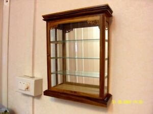 WALL CABINET Wood & Glass Teak Curio Handmade Carved Shadow Box Display Case