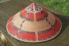Hand Painted Grass Straw Hat Limbang Red Tan Women's 1975 Clothing Accessories