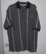 Mens Nologo Tonix polo shirt size Large, Golf Classic, black/gray striped #994
