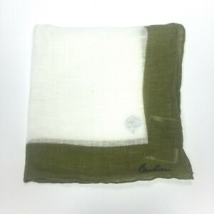 NWT $95 Corneliani White Olive Green Linen Pocket Square Made in Italy AUTHENTIC