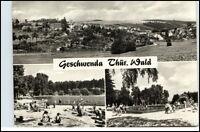 DDR Postkarte Thüringen GESCHWENDA 1971 ua. Schwimmbad u. Gesamtansicht