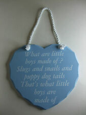 What are little boys made of? Blue Heart Shaped Shabby Chic Plaque - BNIB