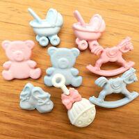 5x novelty nursery/baby themed buttons teddy pram rocking horse rattle pink/blue